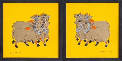 Devoted Cows (Yellow),[product_collection],Pichwai S,Shan Bhatnagar - Artisera