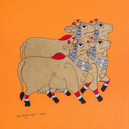 Devoted Cows (Orange),[product_collection],Pichwai S,Shan Bhatnagar - Artisera
