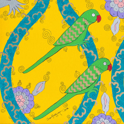 Yellow Parrots,[product_collection],Pichwai S,Shan Bhatnagar - Artisera