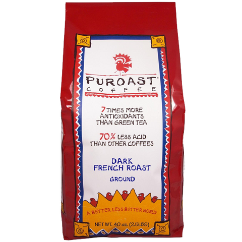 Puroast coffee dark French Roast grind 2.5 pound bag