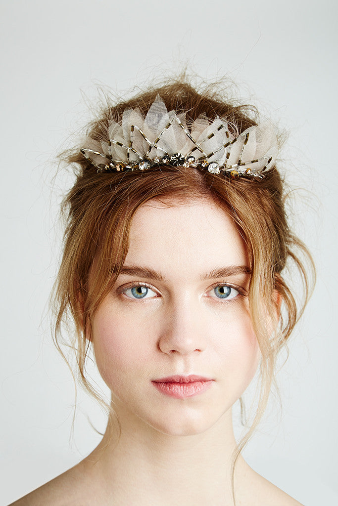 A Swarovski Crystal bridal tiara by Feather and Coal Bridal hair accessories