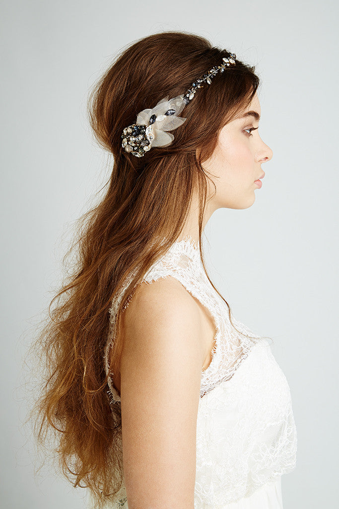 Swarovski Crystal bridal headband by Feather and Coal Bridal hair accessories