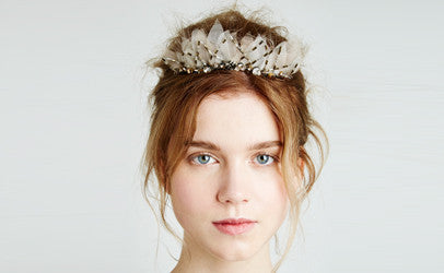 103 - Swarovski Crystal and Hand Cut Organza Headband