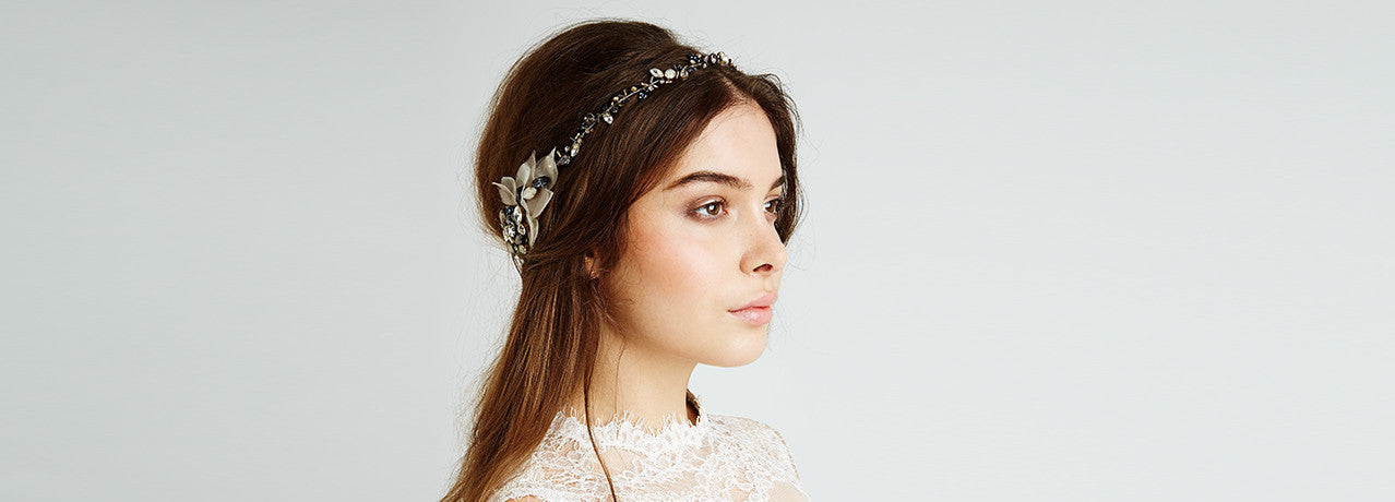 Feather and Coal Organza Petal and Crystal Headband