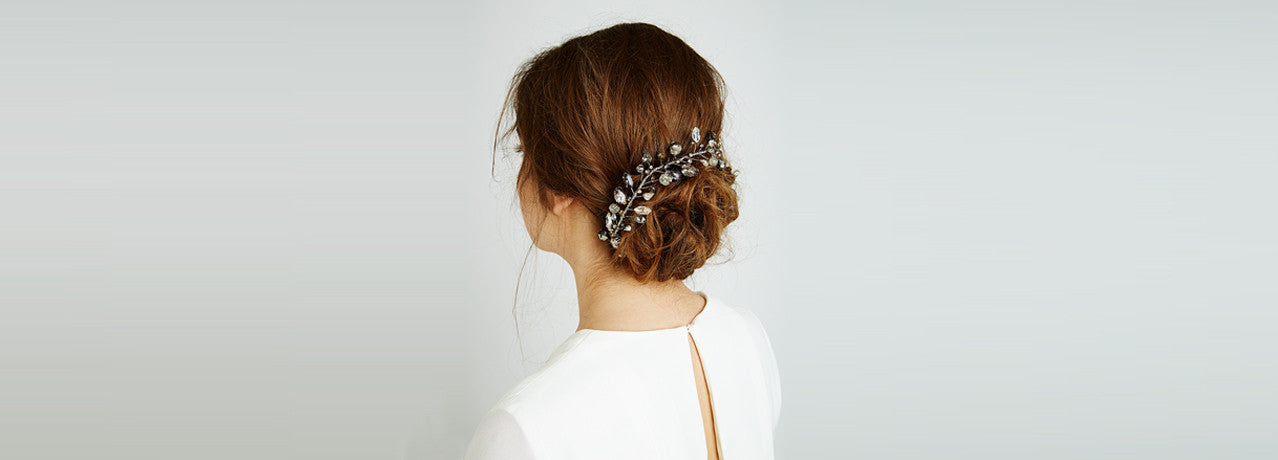 Feather and Coal 102 Swarovski Crystal Hairpiece