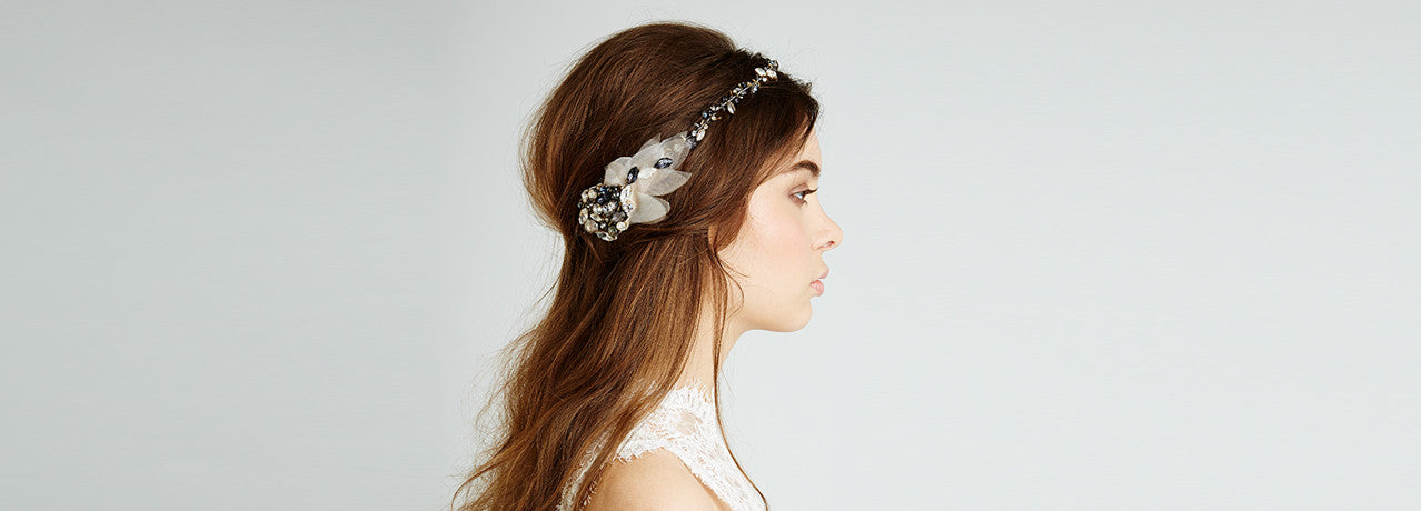 Feather and Coal 105 Organza Petal and Crystal Headband