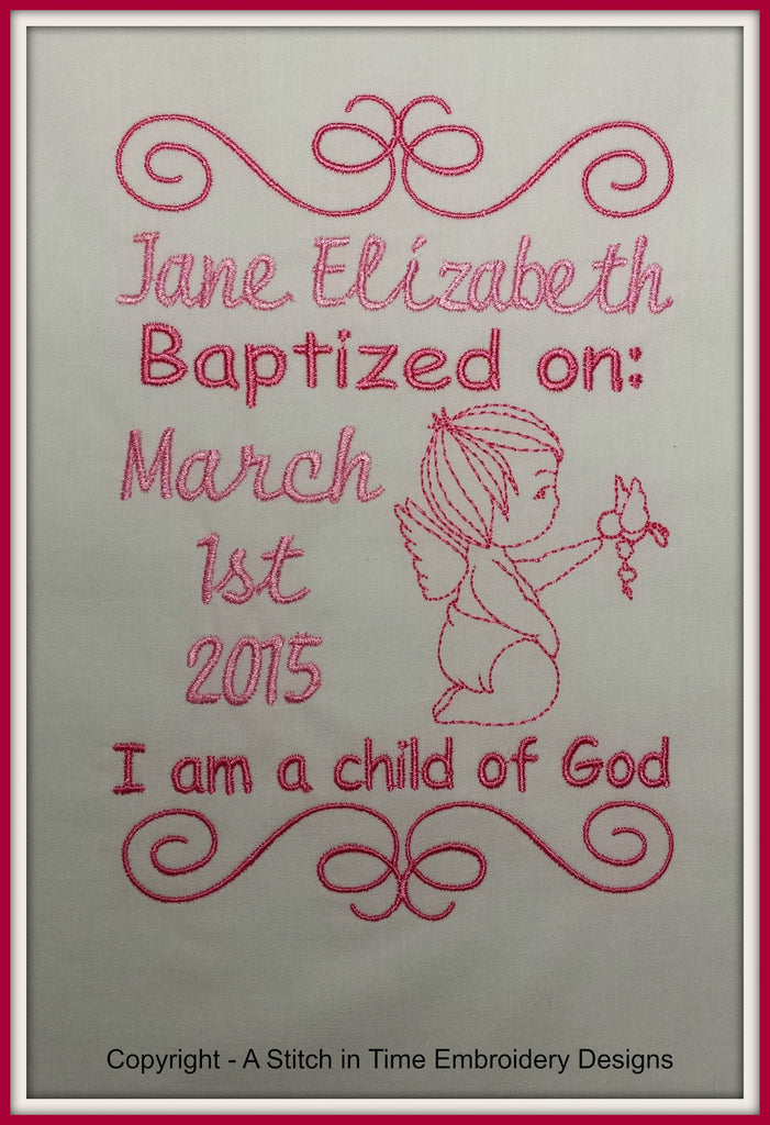 5x7 Baptism Announcement Template A Stitch In Time