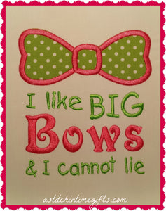 5x7 I Like Big Bows Applique