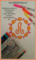 Scroll Monogram Coloring Set