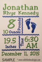 Footprints Birth Announcement Template for 5x7 Hoop