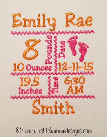 Birth Announcement Templates – A Stitch In Time Embroidery Designs