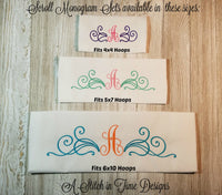 Scroll Monogram Set - Fits 4x4 Hoops