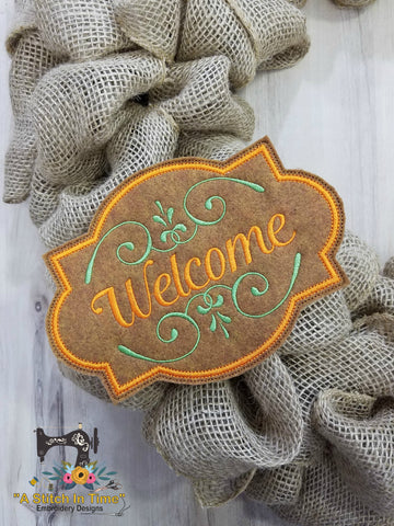 ITH Wreath Decor - Welcome Sign (5x7 Hoop)