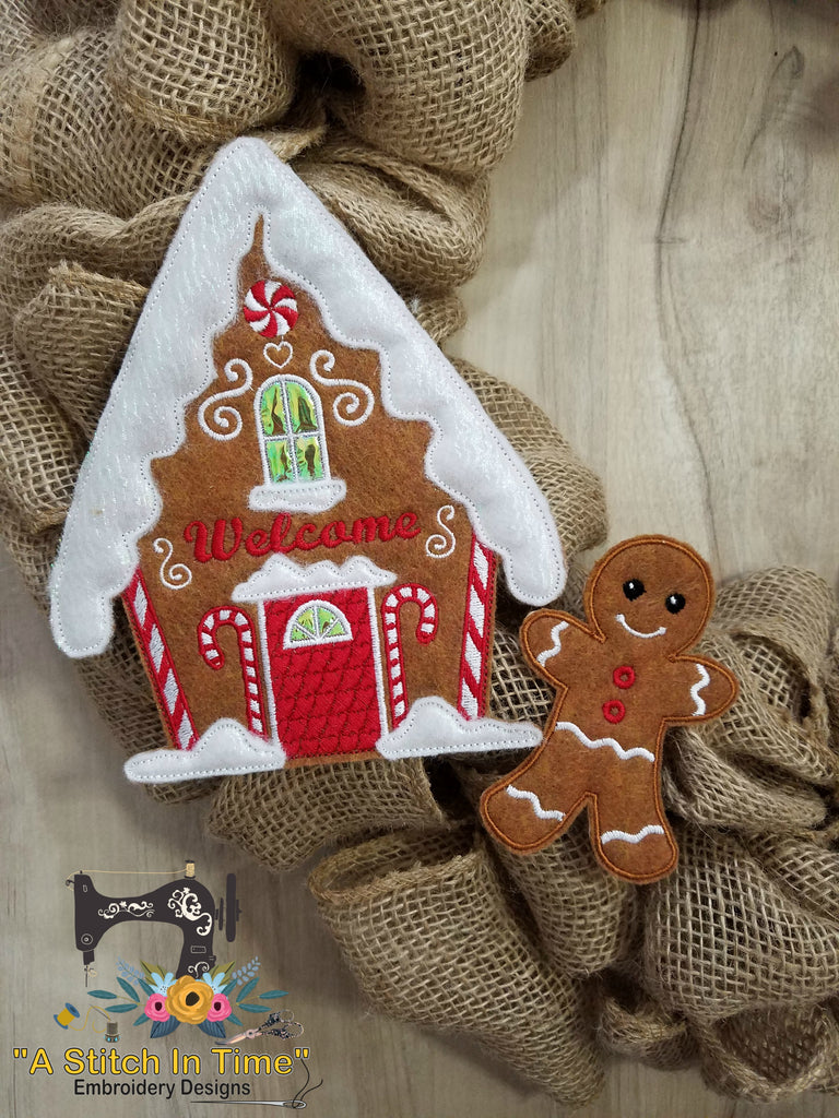 Ith Wreath Decor Gingerbread Man 4x4 Hoops A Stitch In