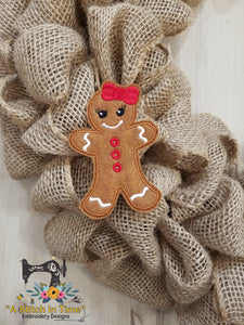 ITH Wreath Decor Gingerbread Girl (for 4x4 hoops)