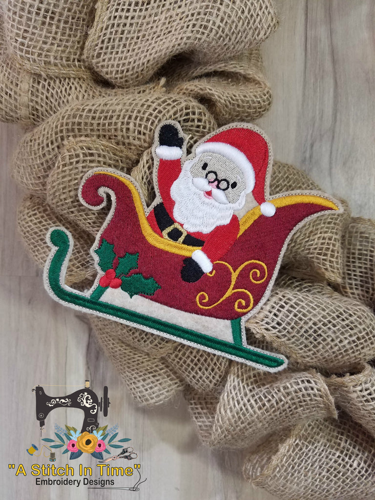 ITH Wreath Decor Santa and Sleigh (5x7 hoops)
