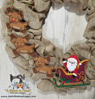 ITH Wreath Decor Santa and Sleigh (4x4 hoops)