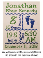 Custom Lettering for Birth Announcement Templates