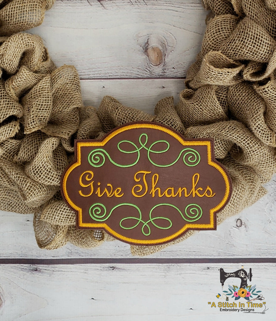 ITH Give Thanks (fits most 6x10 hoops)