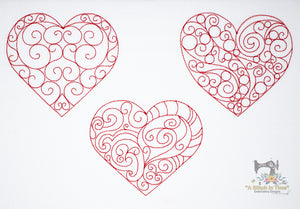 Redwork Heart Set