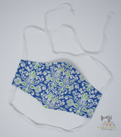 Reusable Cloth Non-Medical Face Mask - Adult Size - Blue-Green Damask