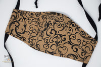 Reusable Cloth Non-Medical Face Mask - Adult Size - Black and Beige Scroll