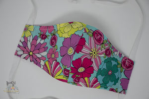 Reusable Cloth Non-Medical Face Mask - Adult Size - Happy Flowers