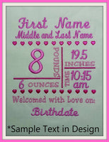 kg - grams - CM 5x7 Birth Announcement Template - Machine Embroidery File Instant Download