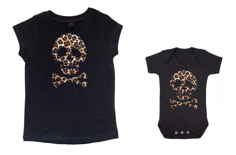punk leopard print ladies baby kids t-shirt vest goth alternative