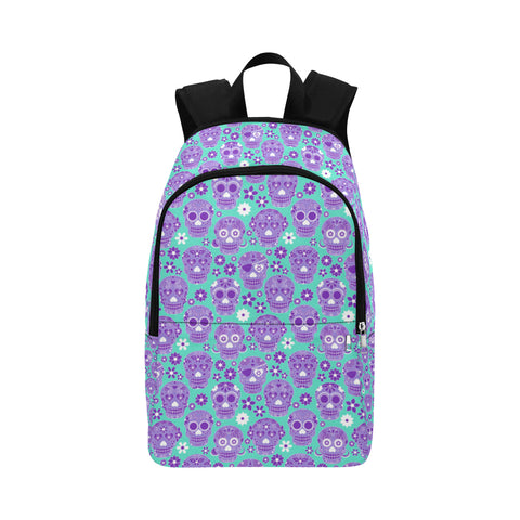 Aqua & Purple Sugar Skulls Backpack Bag