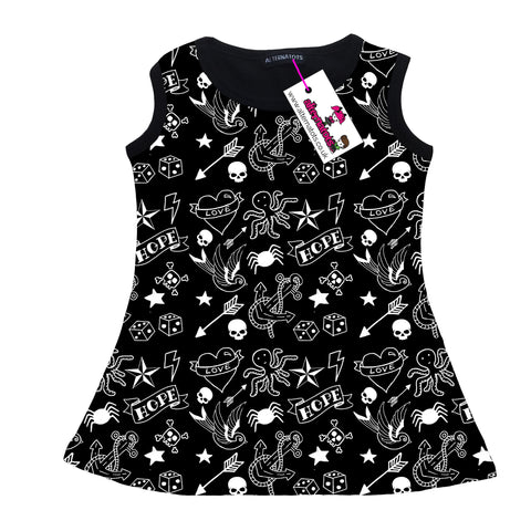 Tattoo Print Girls Tank Dress