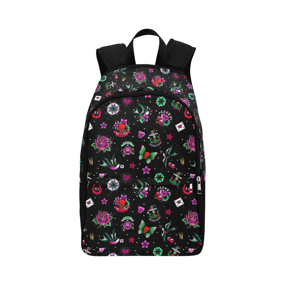 Black Retro Tattoo Print Backpack Bag