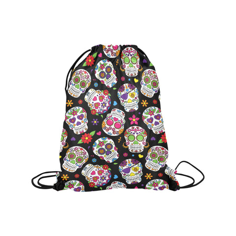 Black Sugar Skull Drawstring Bag