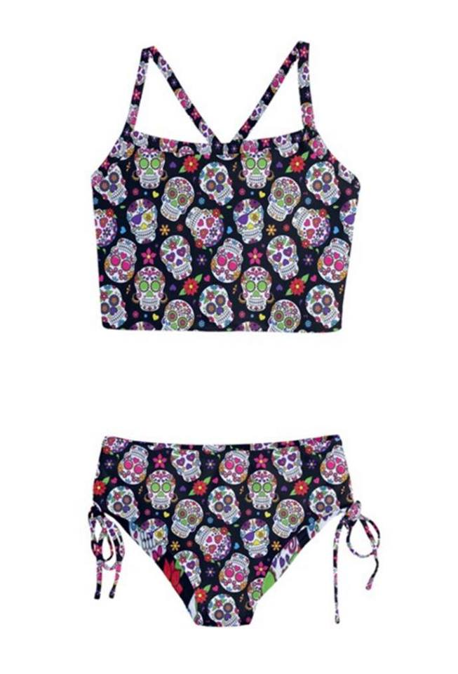 Black Sugar Skulls Girls Tankini