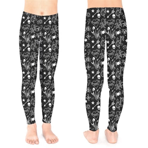 Black & White Tattoo Print Leggings