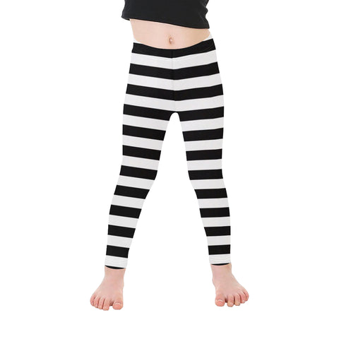 Black & White Striped Kids Leggings