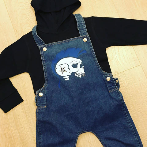 Mohican Skull Blue Denim Dungarees