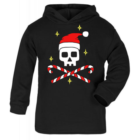 Christmas Skull Black Lightweight Cotton Hoodie