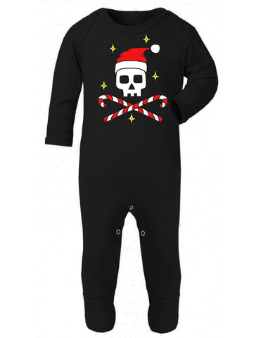 Father Christmas Skull Baby Sleepsuit