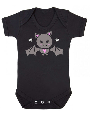Super cute bat print black baby vest with two small skull details above the wings