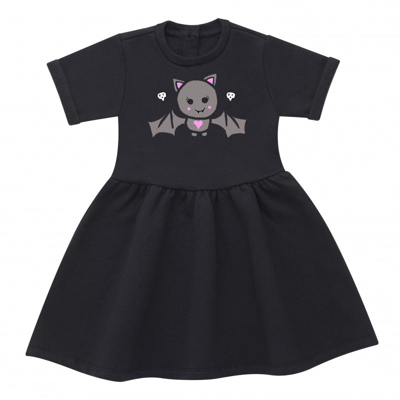 Cute Bat Black Cotton Girls Dress