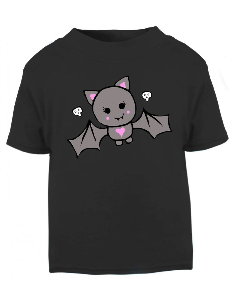 Cute Bat Pink Heart or Blue Star Black T-shirt