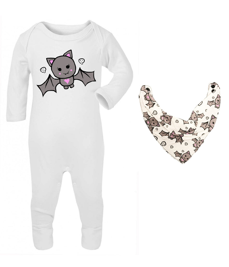 Cute Bat Sleepsuit and Bandana Bib