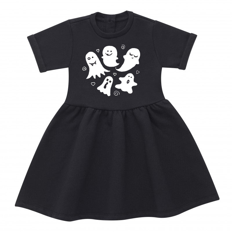 Cute Ghosts Black Cotton Dress