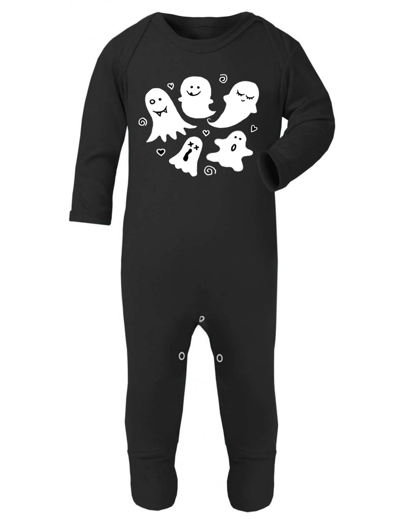 Cute Ghost Print Black Sleepsuit