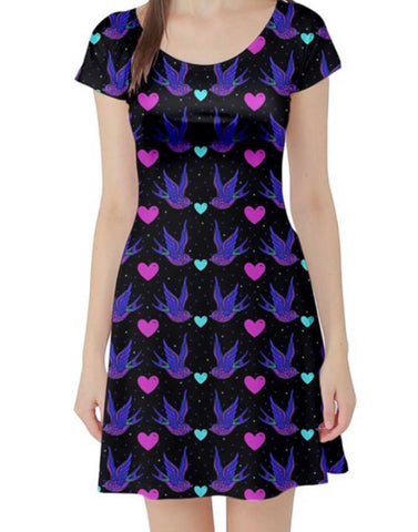 Day of the Dead Swallows Ladies Skater Dress
