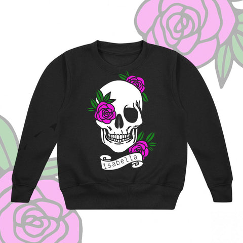 Personalised Flower Skull Kids Sweater