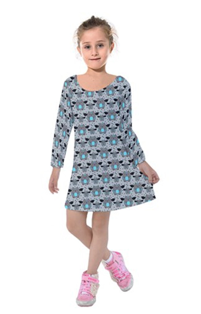 Grey Bat Cat Long Sleeved Girls Dress