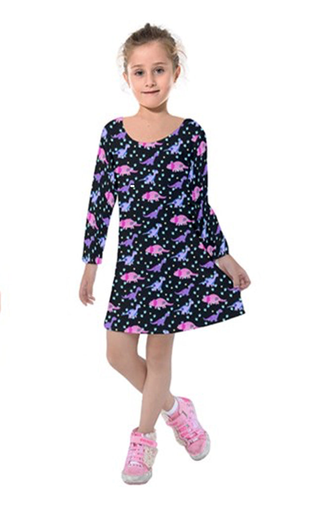 Girls Cute Tattoo Dinosaur Long Sleeved Dress