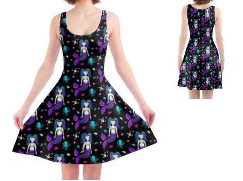 Gothic Mermaid Black Ladies Skater Dress